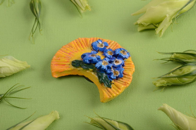 Handmade designer souvenir stylish ceramic fridge magnet cute interior decor photo 1