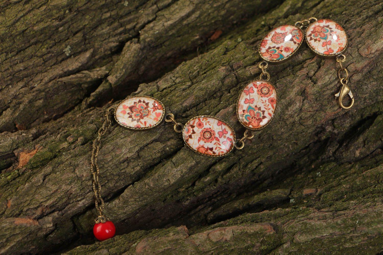 Браслет из стекловидной глазури на цепочке ручной работы с восточными мотивами фото 1