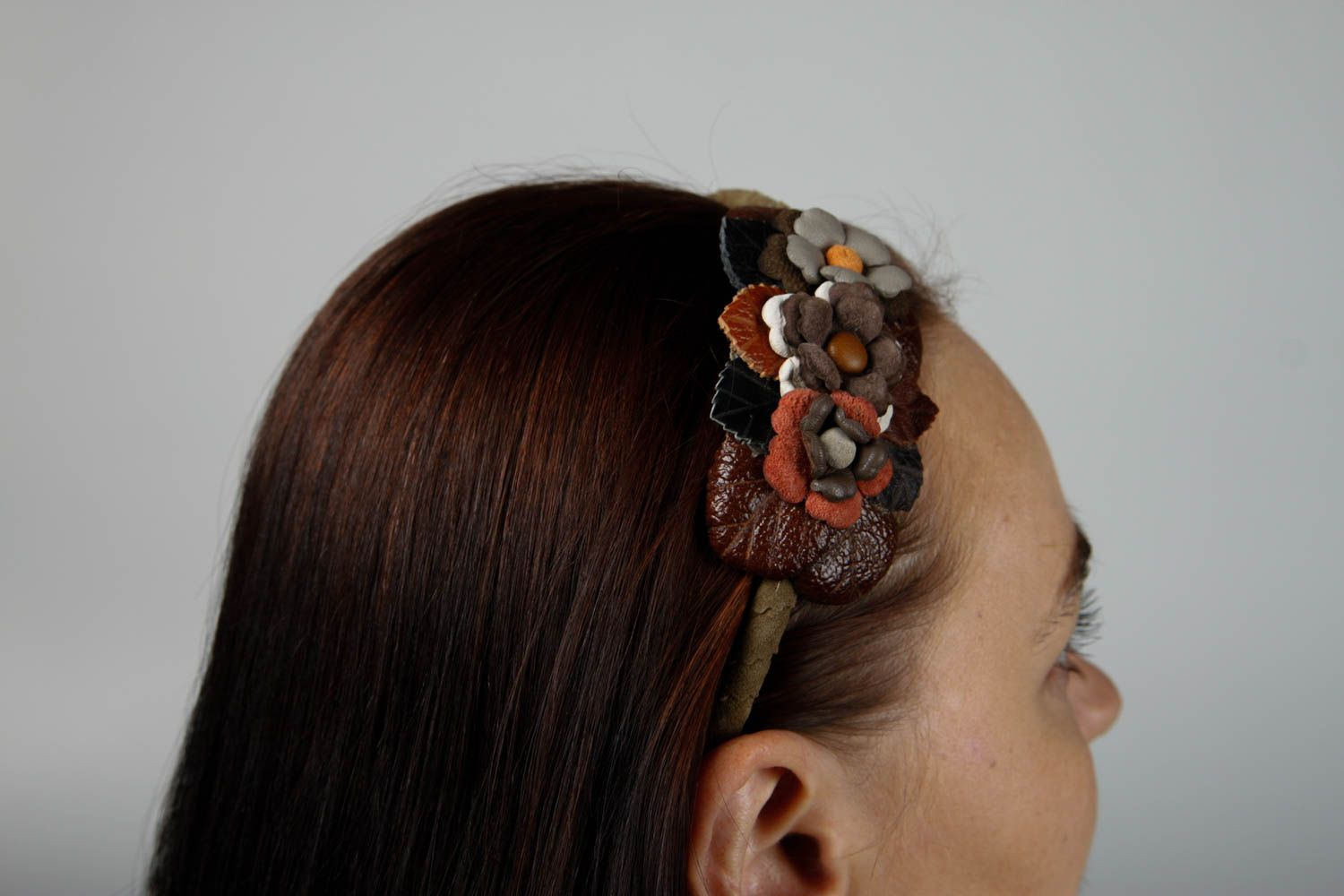 Stylish handmade leather headband hair bands trendy hair gifts for her photo 2
