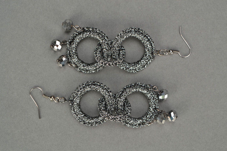 Crochet earrings Silvery color photo 3