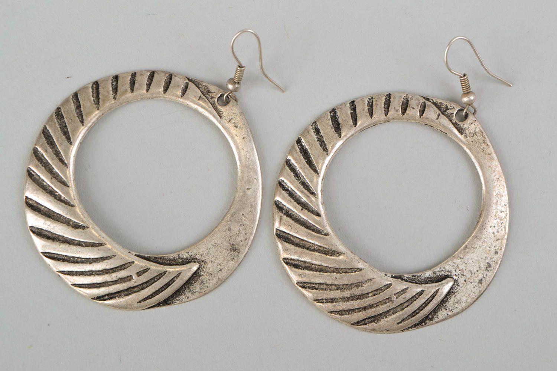 Handmade hoop earrings with patterns photo 3