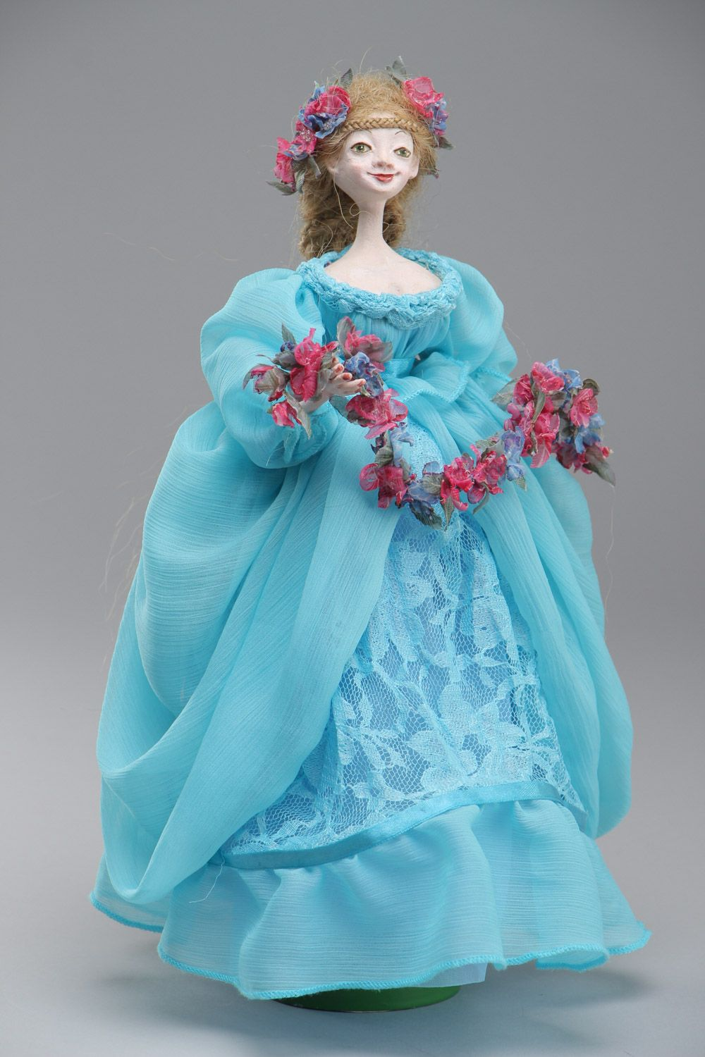 Handmade collectible paperclay interior doll in blue dress photo 2