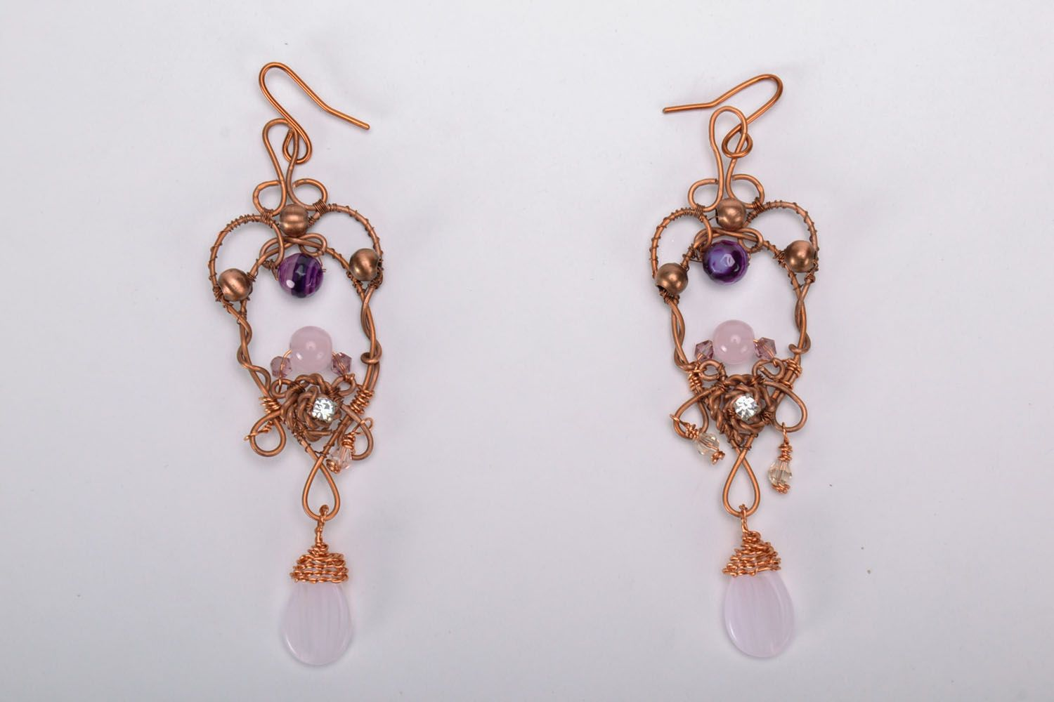 Long earrings with natural stones photo 2