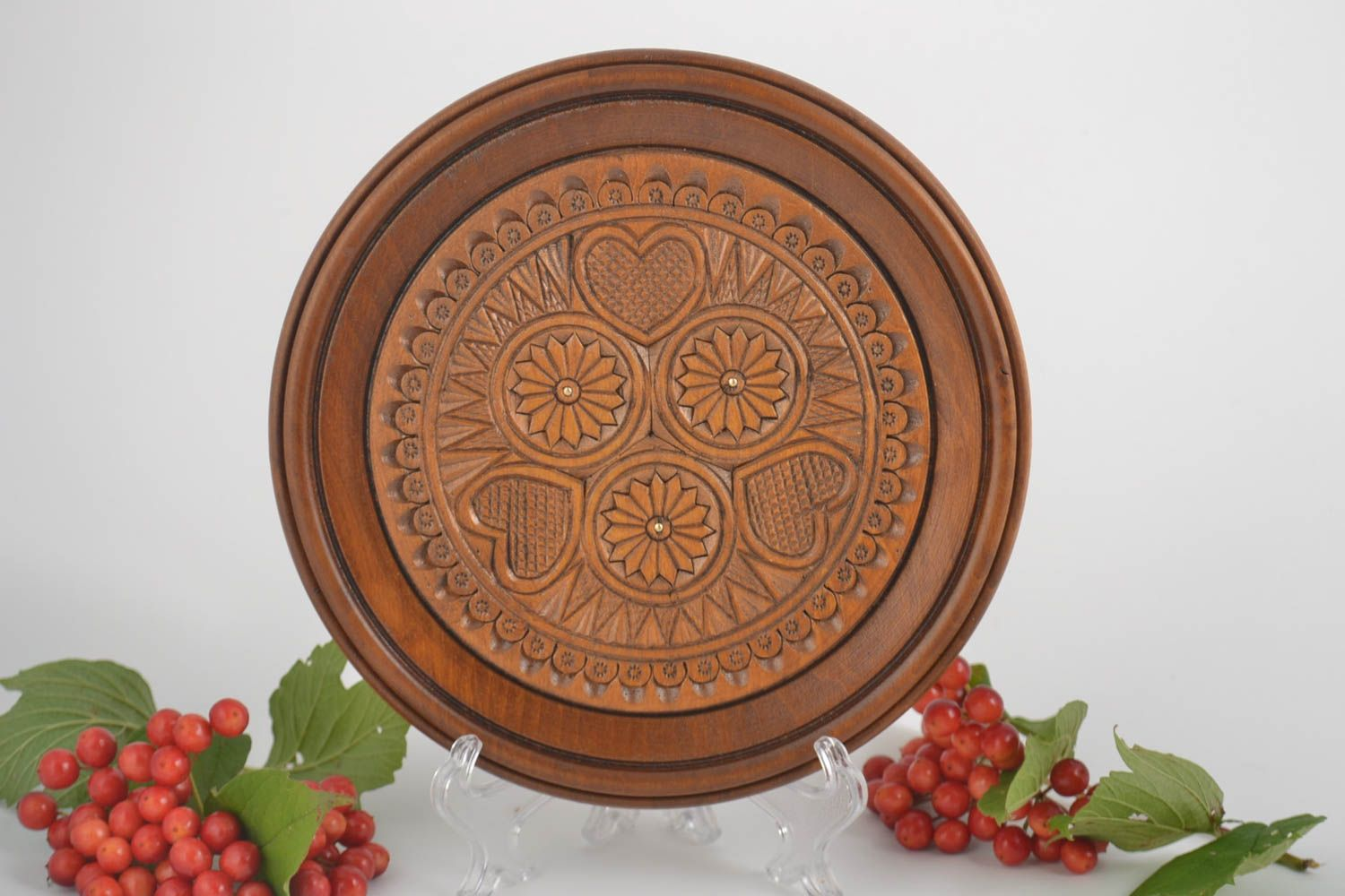 Decorative Plates Handmade Wood Plate Rustic Home Decor Wall Hanging Wooden Gifts Souvenir Ideas Madeheart