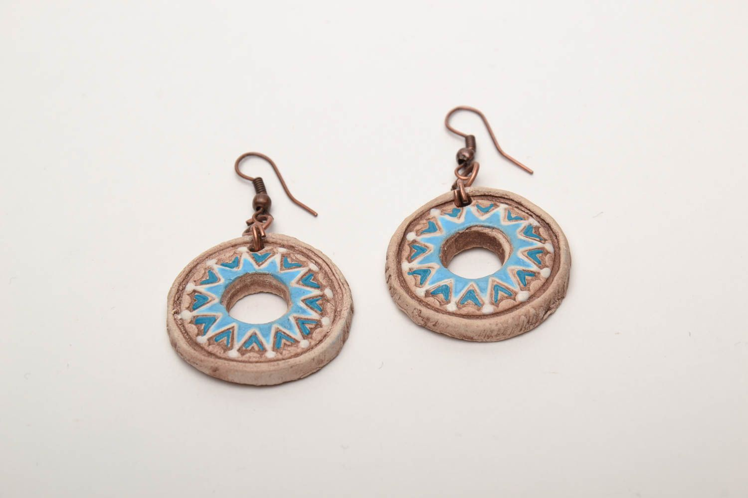 Round clay earrings photo 3