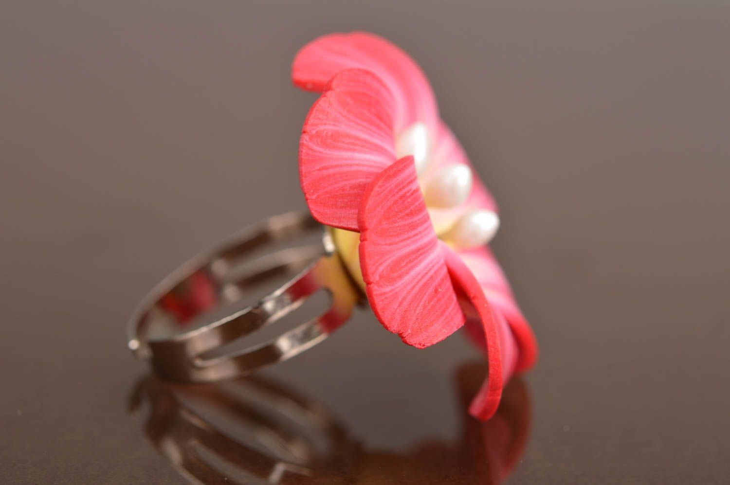 polymer clay rings Handmade designer women's seal ring with bright pink polymer clay volume flower - MADEheart.com