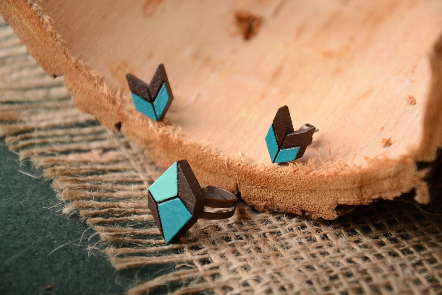 Unusual handmade wooden earrings wooden ring artisan jewelry set gifts for her photo 1