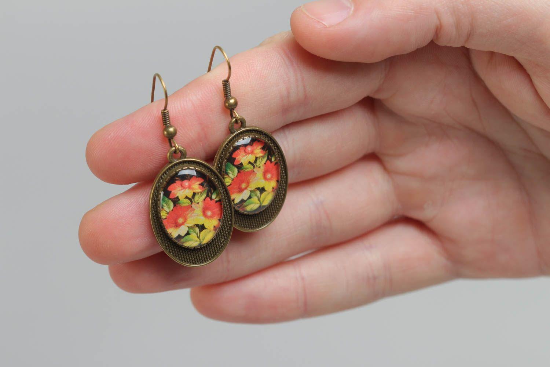 Винтажные серьги из стекловидной глазури с цветами ручной работы с принтом авторские фото 4