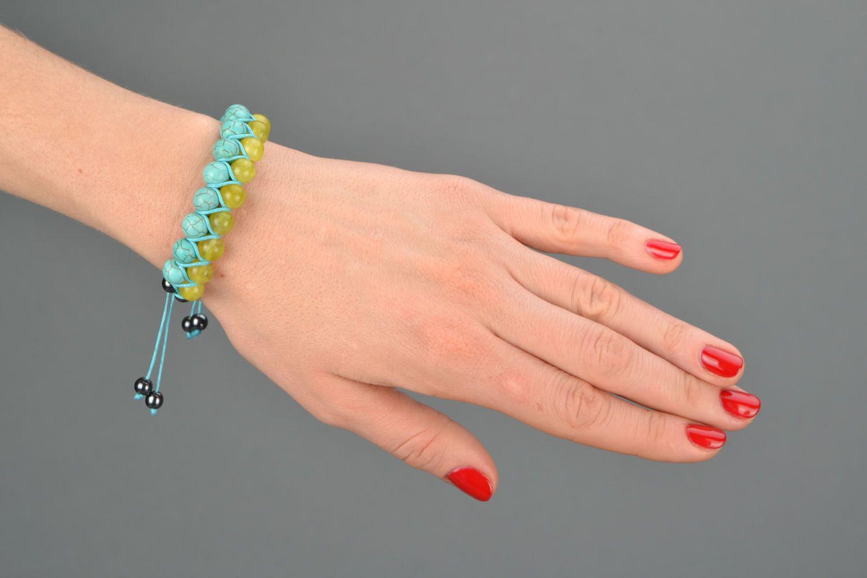 Handmade bracelet with turquoise and onyx photo 1