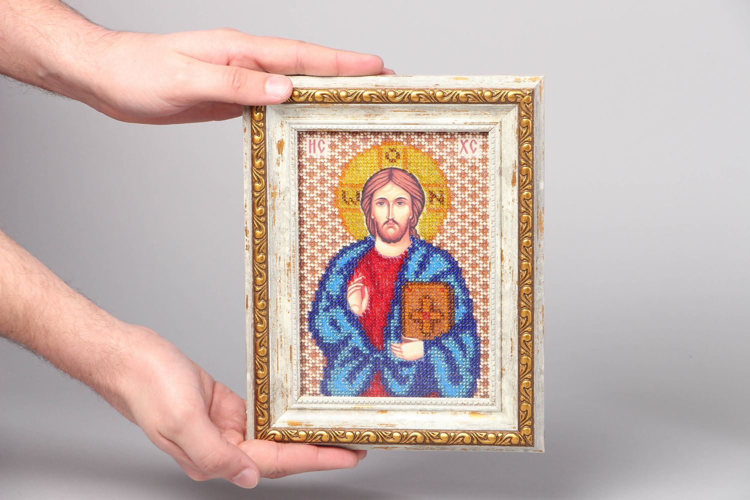 Jesus Christ icon embroidered with beads photo 4