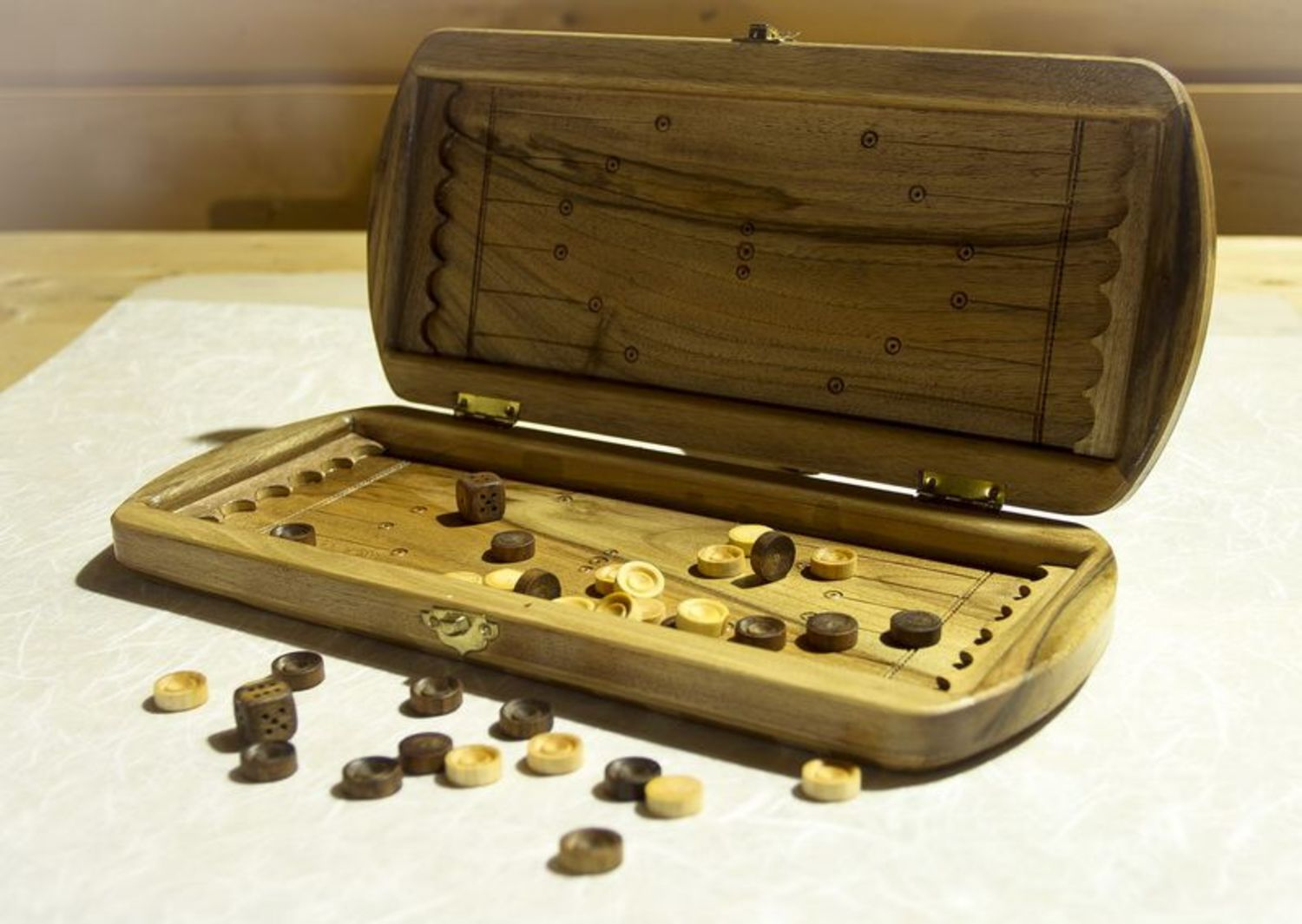 Wooden hand carved backgammon photo 1