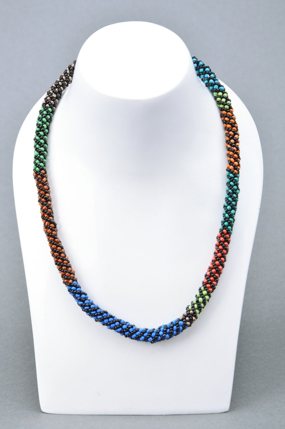 Handmade designer colorful beaded cord necklace Savanna for elegant ladies photo 1