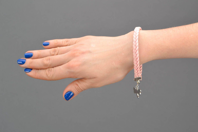 Pink natural suede bracelet for girls photo 2