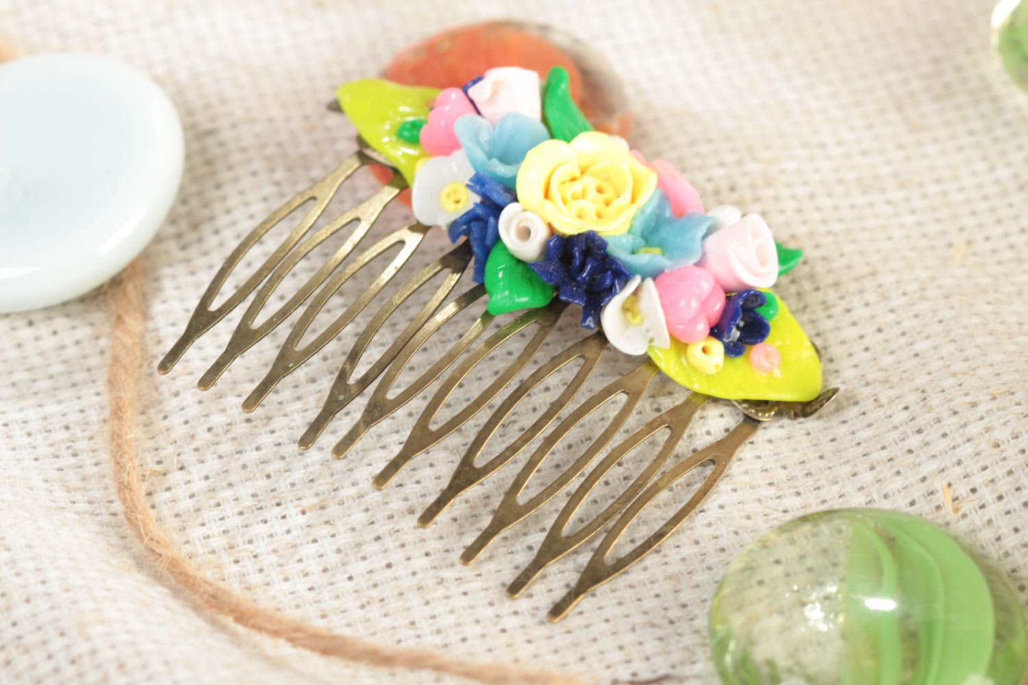 Handmade decorative hair comb with small colorful volume polymer clay flowers photo 1