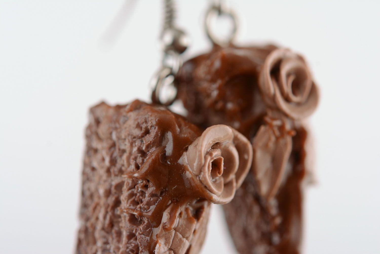 Polymer clay earrings Chocolate Cake photo 4