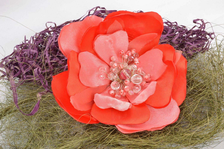 Helle Brosche-Haarnadel handgemacht aus Textil  foto 1