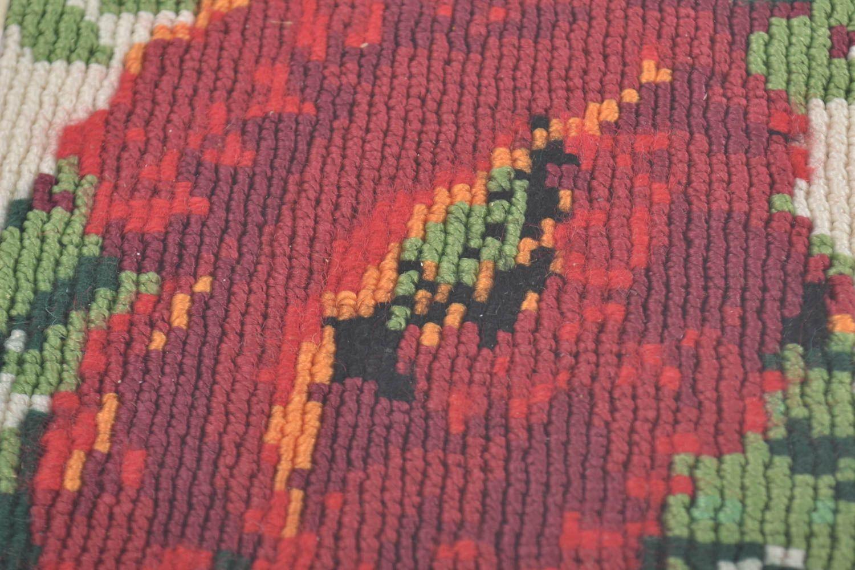 madeheart tableau d coratif mural fait main technique macram avec fleurs rouges. Black Bedroom Furniture Sets. Home Design Ideas