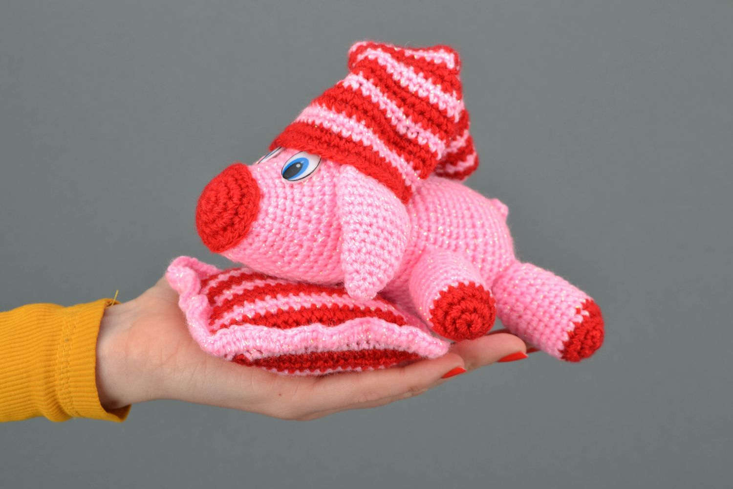 Soft crochet toy Pink Pig on Pillow photo 2