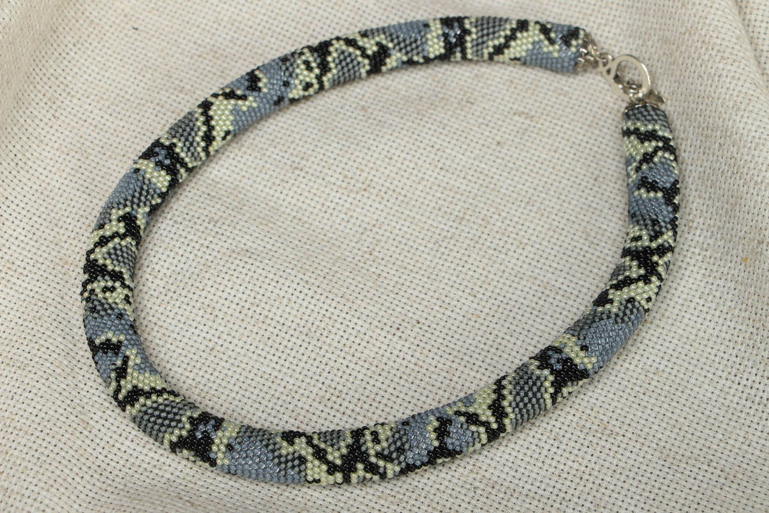 Homemade beaded cord necklace photo 1