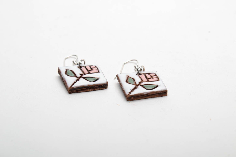 Ceramic earrings in ethnic style photo 5