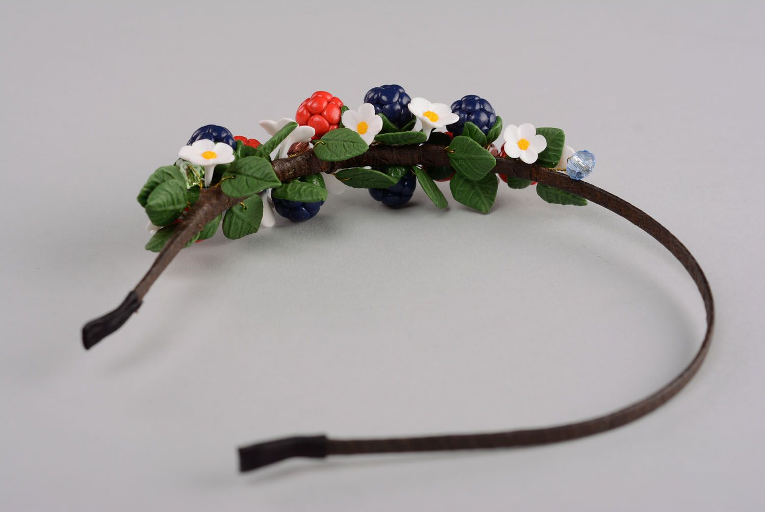 Handmade plastic headband Wild Berries photo 5