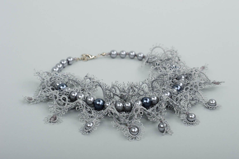 Damen Halskette Halsschmuck für Damen Collier Kette Schmuck handgemacht in Grau foto 2