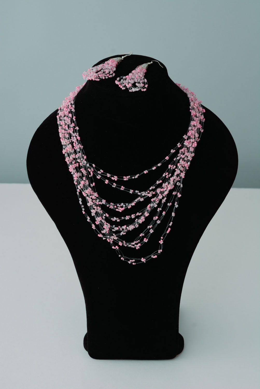 Beaded jewelry set Pink photo 1