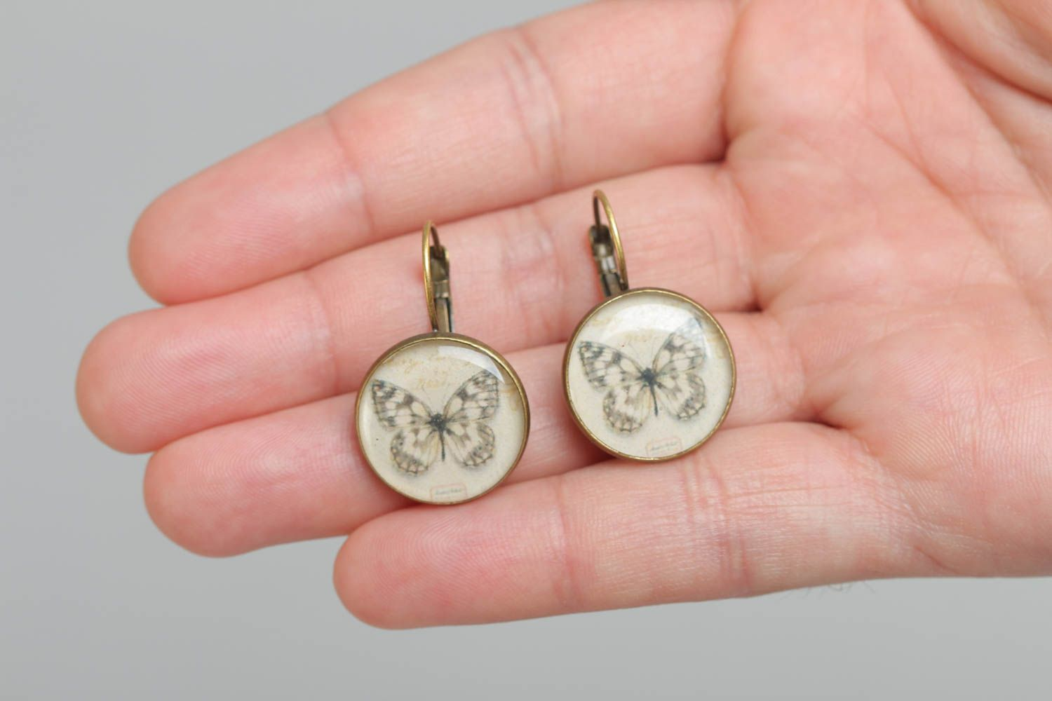 A set of handcrafted round vintage earrings made of glass glaze with butterflies  photo 5