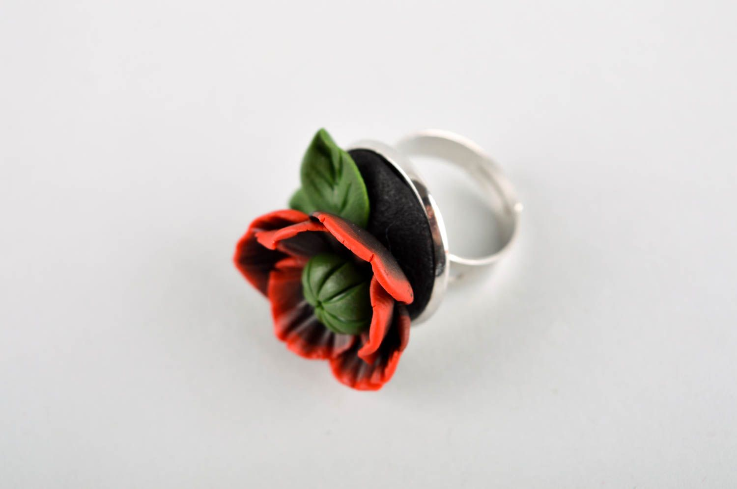Handmade polymer clay ring unusual adjustable ring unusual flower ring photo 2