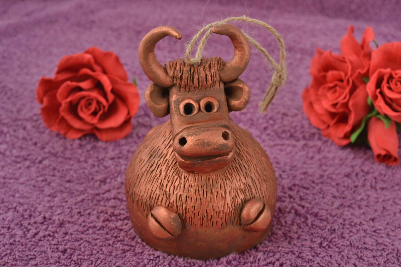 Beautiful brown handmade designer ceramic bell with painting Bull photo 1