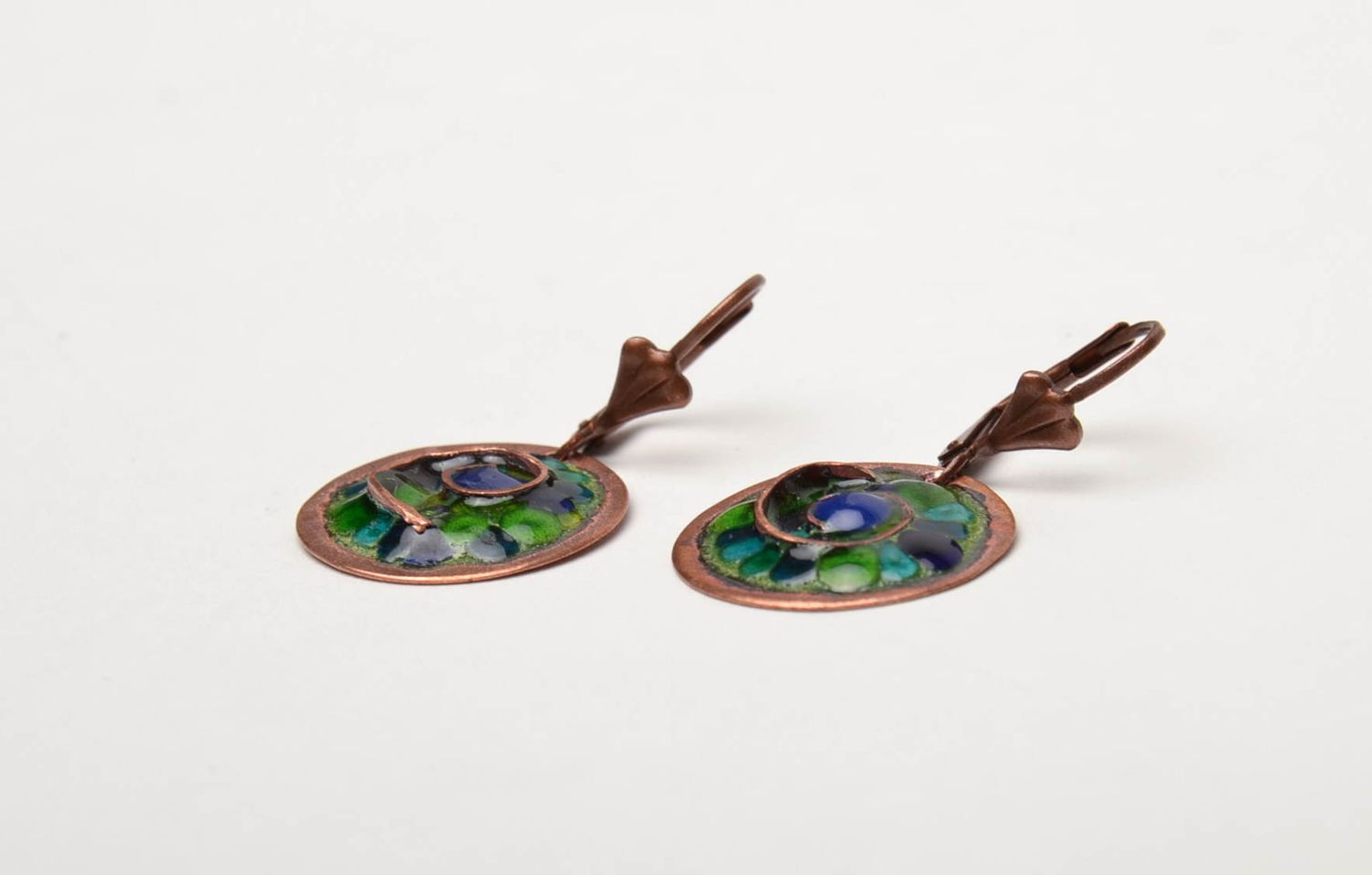 Unusual round copper earrings painted with enamels photo 4