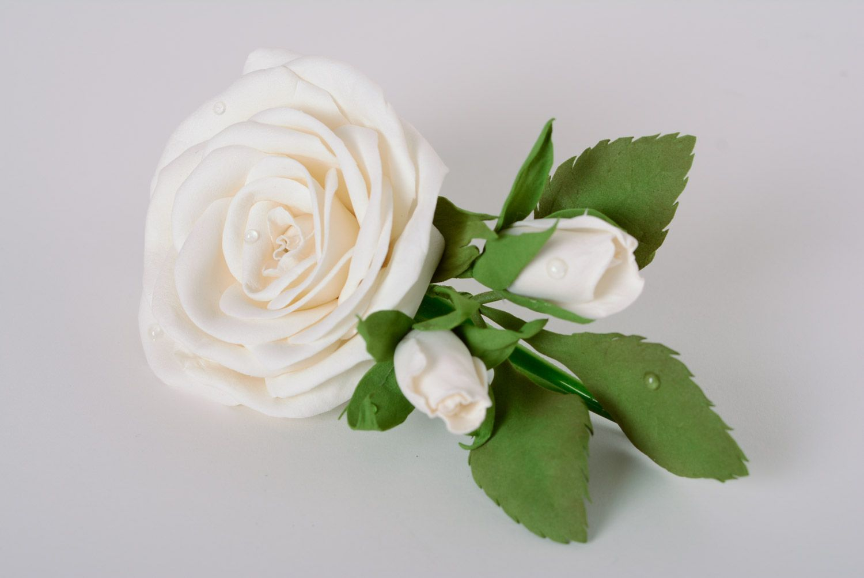 Madeheart Handmade Womens Hair Clip White Foamiran Fabric Flower