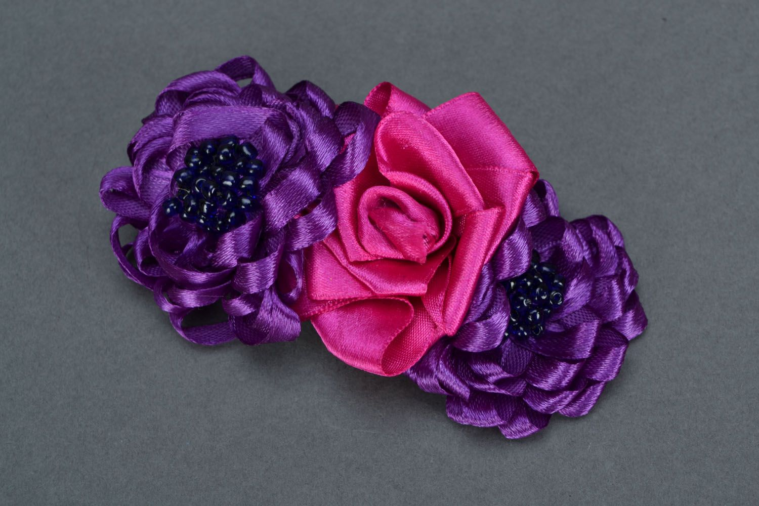 Bright flower hair clip Fuchsia photo 3