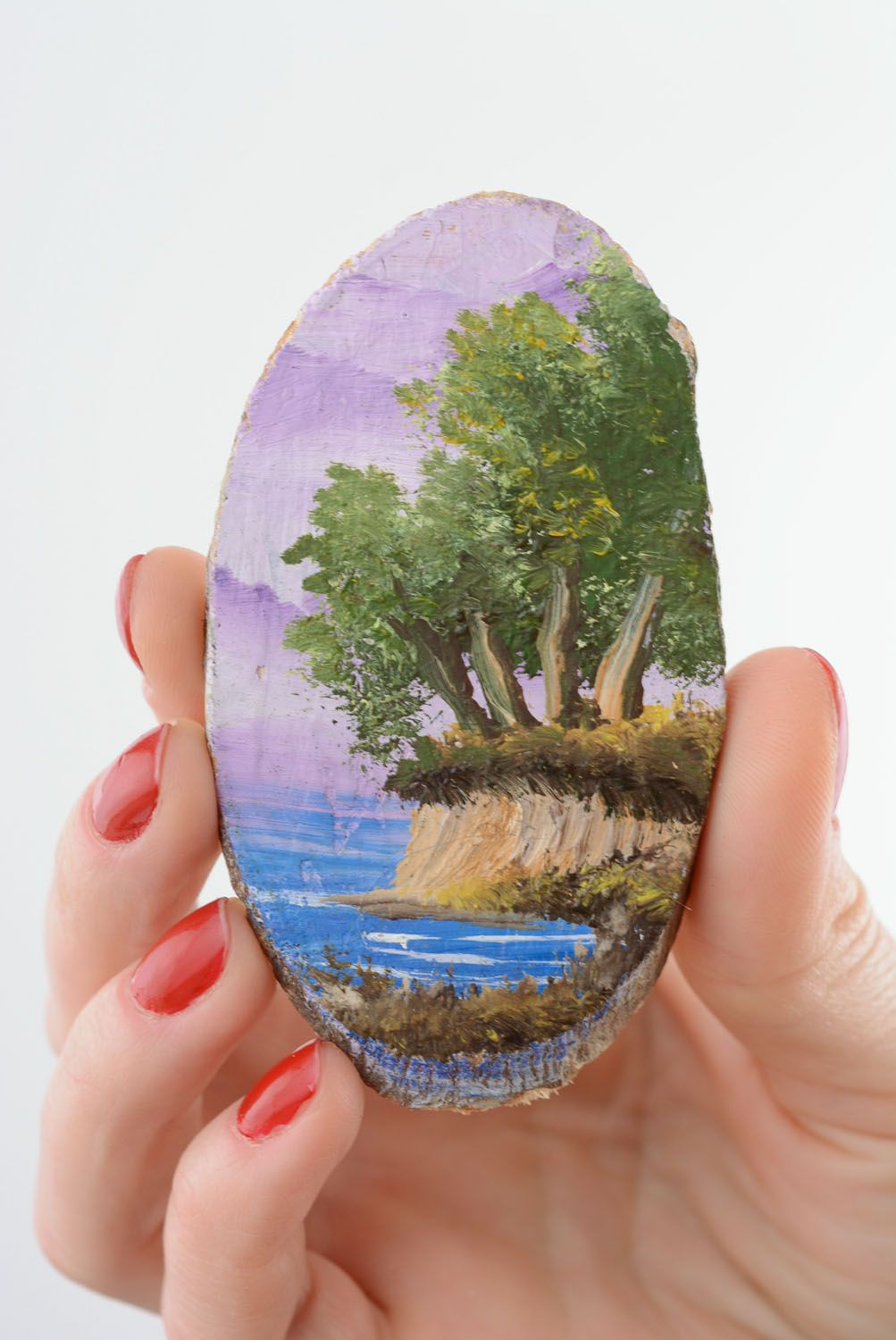 Wooden fridge magnet Lilac Evening photo 3