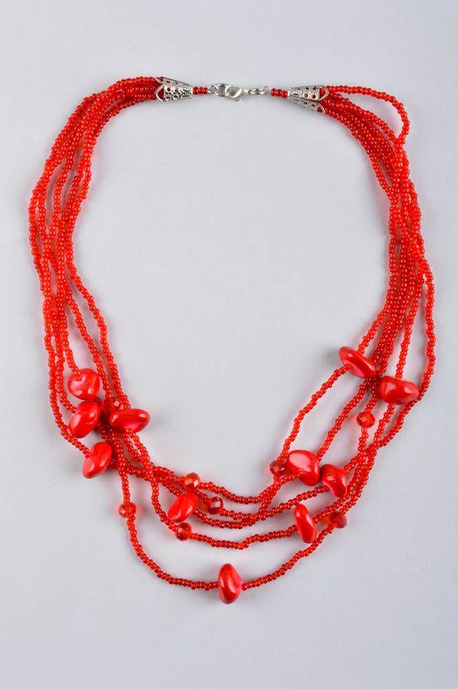 Колье из бисера украшение ручной работы красное многорядное ожерелье из бисера фото 2