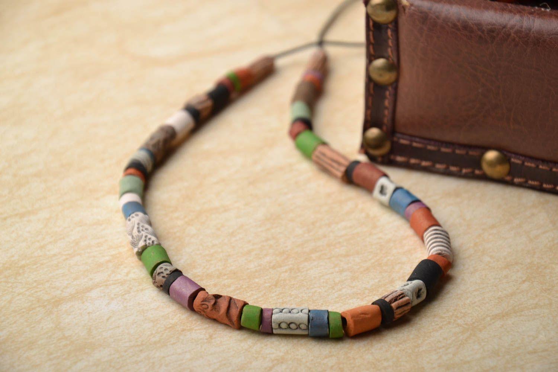 Colorful ceramic bead necklace photo 1