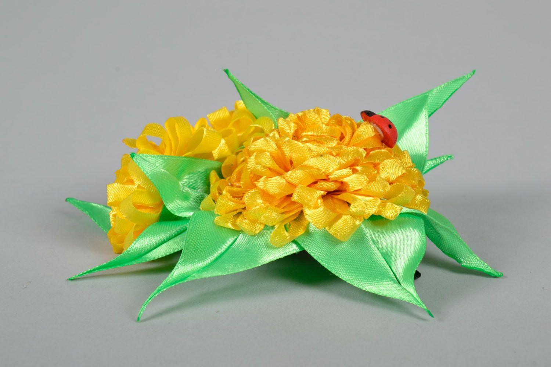 Hair clip made using kanzashi technique Yellow Flowers photo 3