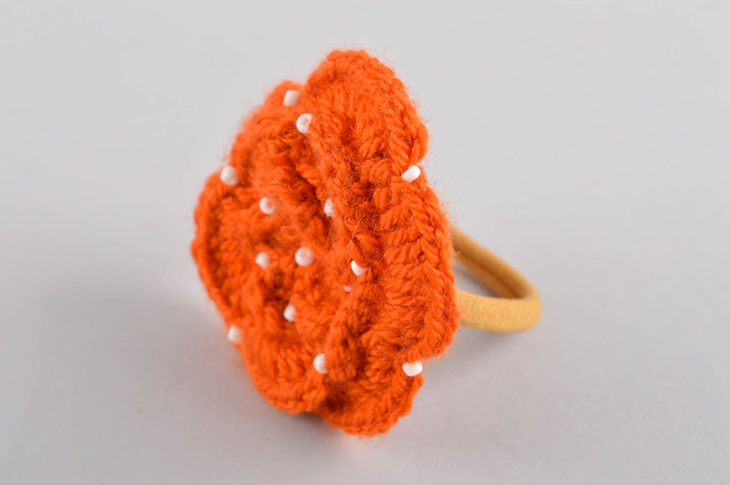 Handmade flower hair scrunchy hair accessories crochet barrette present for girl photo 2