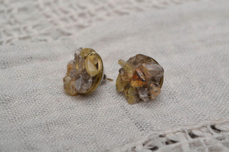 Quartz stud earrings  photo 1