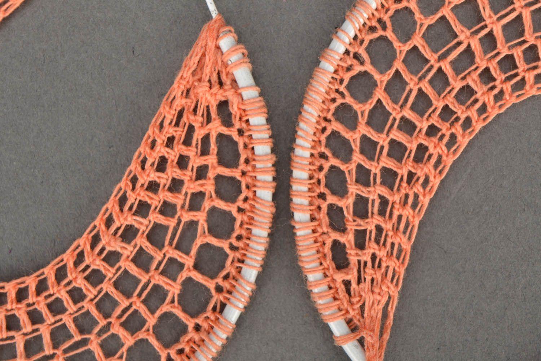 Handmade crocheted jewelry Orange photo 4