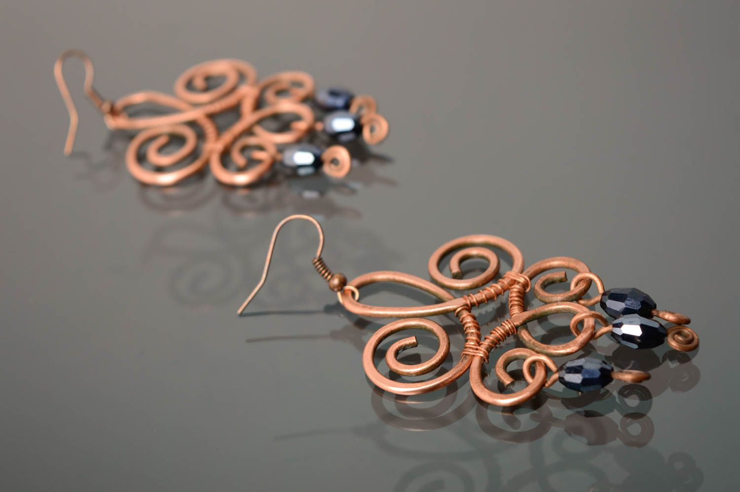 Massive copper earrings made using wire wrap technique photo 1