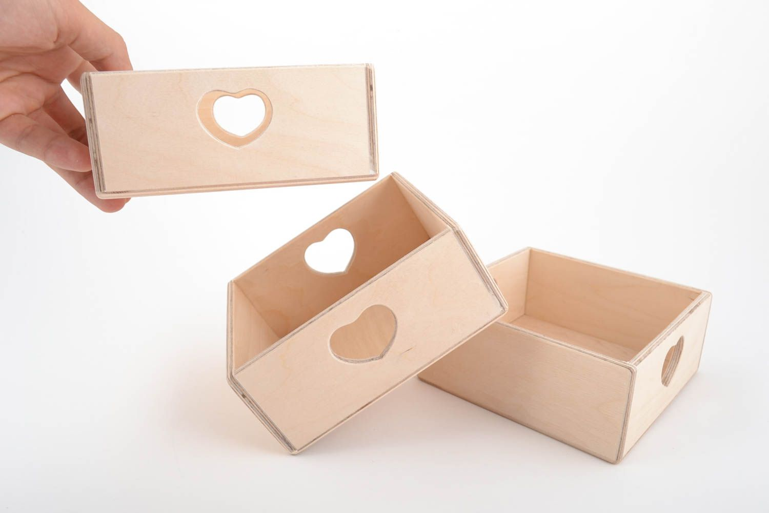 Set of 3 handmade plywood craft blanks DIY boxes with hearts photo 5