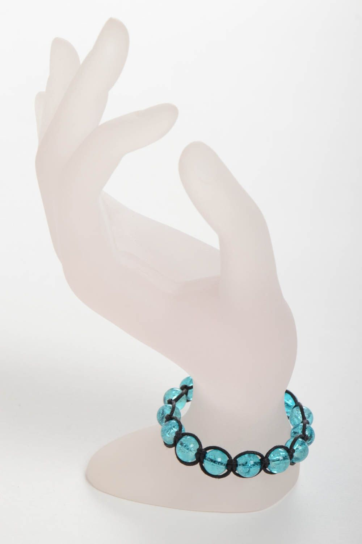 Handmade adjustable bracelet blue beaded accessory stylish wrist bracelet photo 3