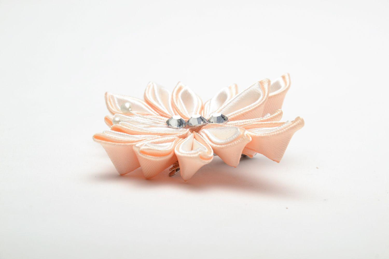 Kanzashi satin ribbon hair clip photo 3