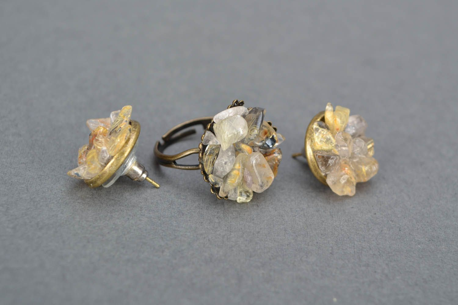 Earrings and ring with quartz photo 4