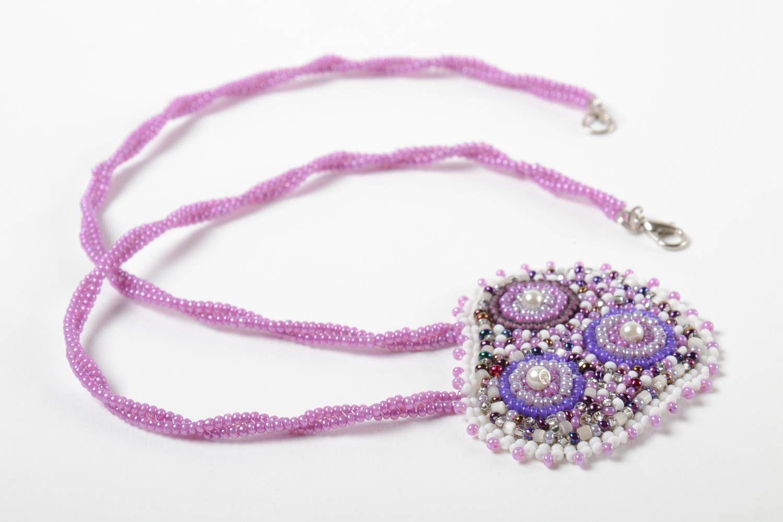 Unusual handmade beaded pendant stylish pendant woven of beads fashion accessory photo 5