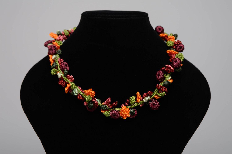 Handmade crochet necklace Blooming Garden photo 2