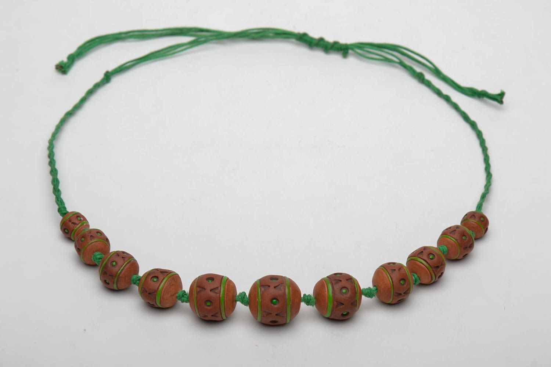 Broe=wn ceramic bead necklace photo 3