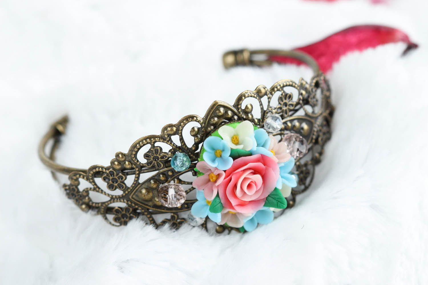 Bracelet made of polymer clay photo 6