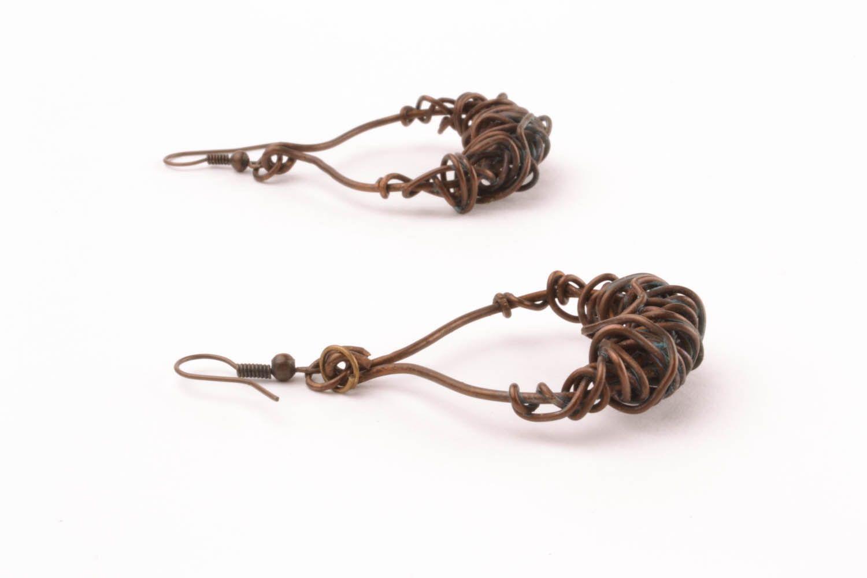 Copper earrings Pinstripes photo 3